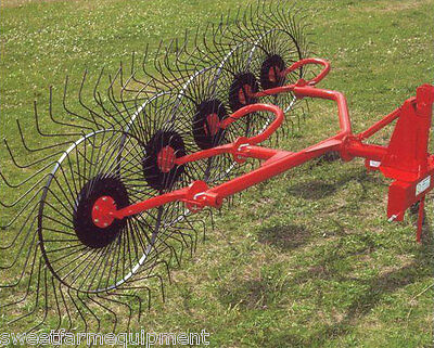 New Enrossi 5 Wheel Hay Rake For 3 Point Hitch Rakes 10 Ft.