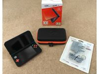 NEW Nintendo 3DS XL - Orange and Black with Power Adapter and Protective Case