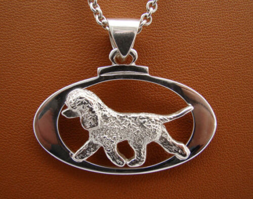 Small Sterling Silver Irish Water Spaniel Moving Study On A Oval Frame