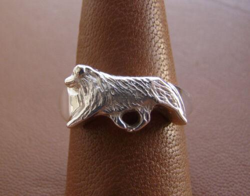 Sterling Silver Australian Shepherd Moving Study Ring