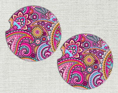 Car Coasters Pink Paisley - Car Cup Holder Coaster - Cup Holder Coaster