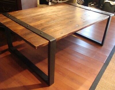 Recliamed Elm Wood and Iron Cocktail Table Coffee Table -