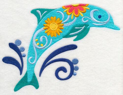 Embroidered Sweatshirt - Flower Power Dolphin M5083 Sizes S - XXL