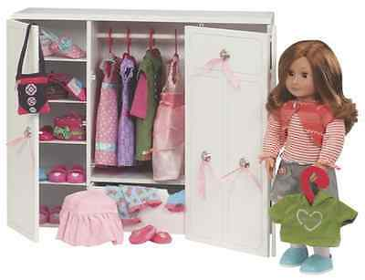 Our Generation Wooden Wardrobe 18 Inch Doll Clothes Shoes American Girl Dolls