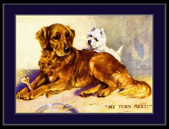 English Picture Print Golden Retriever Terrier Dog Art