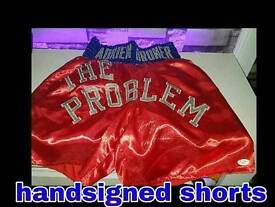 Adrien broner hand signed shorts with COA