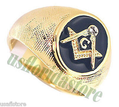 Mens Masonic Mason Oval Blue 18kt Gold Plated Ring Size 14 (Masonic Oval Mens Ring)