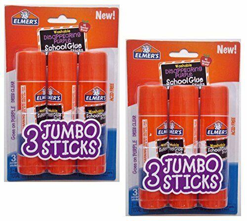 Elmers Jumbo Disappearing Purple School Glue Stick 1.4 Ounce 2 Packs of 3