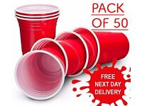 ***SALE** NEW PACK OF 50 Red Plastic Party Cups Disposable Birthday Party Cups Water Juice