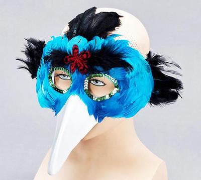 Turqoise Blue Bird Feather Mask & Beak Masquerade Fancy Dress