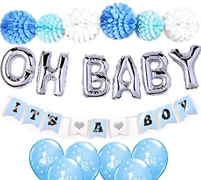 Baby Shower Decorations For Boy OH BABY Letters Balloons 6 Pompoms It's A Banner