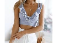 BLUE RUFFLE FRONT SEXY TOP PLUNGE NECK - SIZE SMALL (BEACH/SUMMER/HOLIDAY)