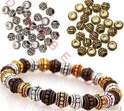 LOT 100pcs Tibetan Silver big hole Spacer Beads Round Wheel Metal Spacer Beads  (Big Beads)