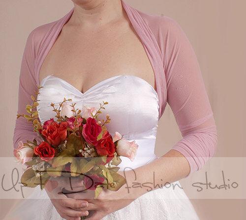 Bridal stretchy tulle bolero jacket  blush pink , 3/4 sleeve wedding shrug