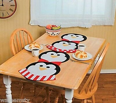 Black White Red Polka Dot Penguins Bird Table Runner Placemats Winter Snow - Red Black And White Table Decorations