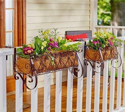 Deck Railing Flower Box (Fancy Metal Railing Planters Balcony Rail Cascading Flower Box Deck Porch)