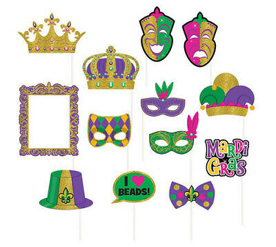 MARDI GRAS PHOTO BOOTH PROPS 13 glittery party supplies New Orleans Bourbon St. (Mardi Gras Props)