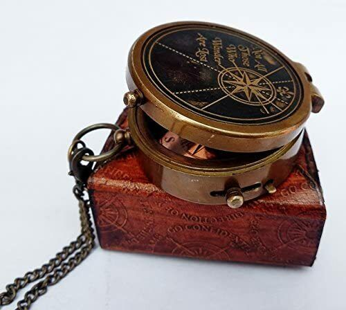 Antique Vintage Nautical Engraved Compass w/Stamped Leather case Halloween Gift