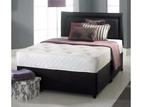 BRAND NEW DOUBLE BLACK DIVAN BED WITH 10 INCH ORTHOPEDIC MATTRESS AND FREE DELIVERY