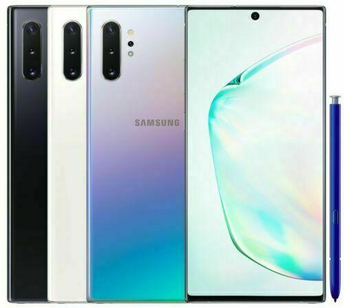 Android Phone - Samsung Galaxy Note10+  Plus SM-N975U1 256GB White Black Glow Blue (Unlocked) A