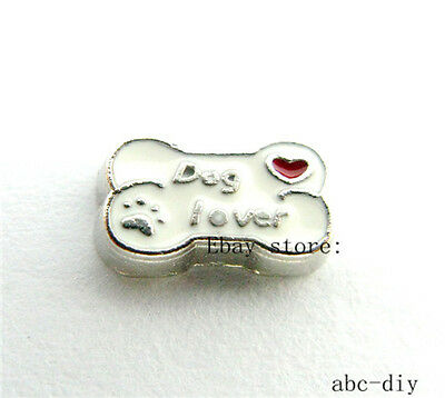 10pc Dog lover bone Floating charm fit  Glass living memory floating Locket 930
