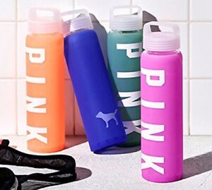 BRAND NEW GLASS & SILICONE WATER PINK BOTTLE!