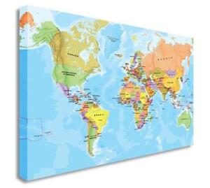 World wall map ebay wall canvas world map gumiabroncs Choice Image