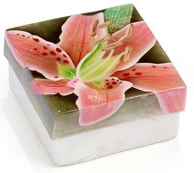 Kubla Crafts Capiz Shell Pink Lily Flower Trinket Jewelry Gift Change Box