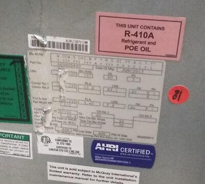 Mcquay Ac 42000 Btu Pn 669809400 3ph M Wccw5042bfyrs Heat Pump