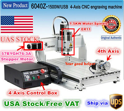 Usa6040 Usb 4 Axis Mach3 1.5kw 1500w Cnc Router Engraving Milling Machine 110v
