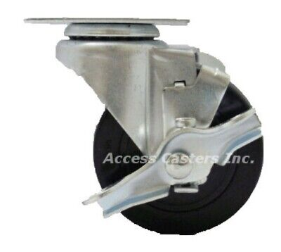 Ac-2317 3 Swivel Plate Caster With Brake Soft Rubber Wheel 125 Lbs Capacity