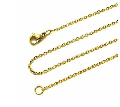 (14K Yellow Gold Link Rolo Rope Chain Necklace 1.5MM 18