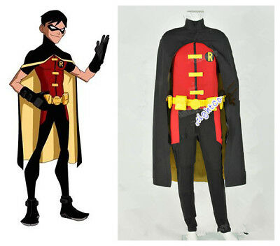 Young Justice Costumes (Young Justice Robin Cosplay Costume Jumpsuit Halloween Party Outfit Halloween)