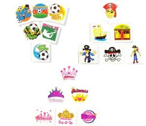 12-x-Assorted-Temporary-Tattoos-Pirate-Princess-Football-Party-Bag-Fillers