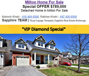 $789,000 Detached Home in Milton For Sale !!