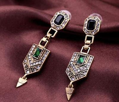 Fashion Multi-color Crystal Ancient Gold Long Ear Stud Hoop tassels earrings (Crystal Gold Tassels)
