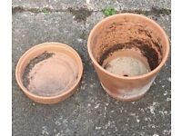 Large Terracotta plant pot and saucers 10 sets available