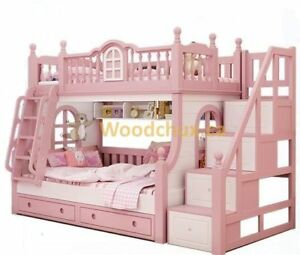 ♥‿♥ = FAIRY TALE Castle Inspired Bunk Bed w/ Stairs = ♥‿♥