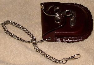 Pocket watch pouch - leather - for belt - metal latch Cambridge Kitchener Area image 3