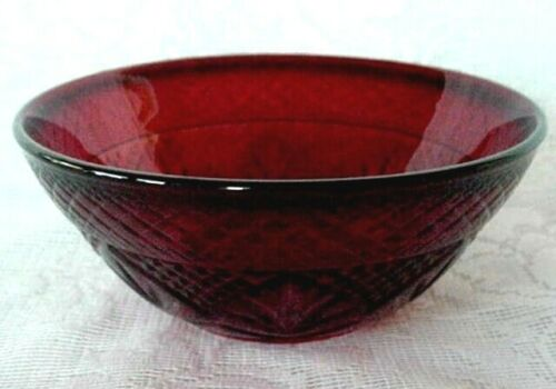 Collectible Vintage Ruby Red Pressed Glass Serving Bowl - Made in France