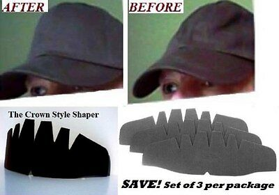 SAVE! 3 Pk. BLACK-Baseball Cap Crown Inserts| Hat Shaper| Hat Liner| Hat Shaper.