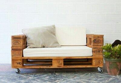 Divanetto in legno 120x50 con Pallet Bancali EUR EPAL con ruote e schienale