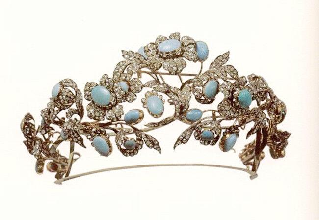 14.72ct Rose Cut Diamond Antique Look 925 Silver Wedding Turquise Gemstone Tiara