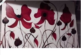 Canvas wall picture with red poppies
