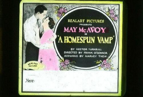 A HOMESPUN VAMP Silent Film Vintage 1922 REALART Movie Glass Slide MAY McAVOY