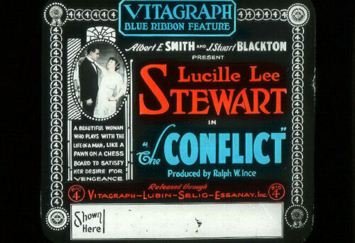 THE CONFLICT - 1916 Silent Film VITAGRAPH Movie Glass Slide LUCILLE LEE STEWART
