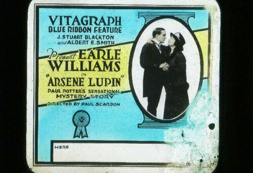 ARSENE LUPIN - Rare 1917 Silent Film EARLE WILLIAMS Movie Glass Slide VITAGRAPH