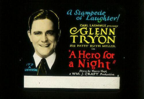 A HERO FOR A NIGHT Rare 1927 UNIVERSAL Silent Film Movie Glass Slide GLENN TRYON