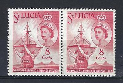 St Lucia 1960 Sc# 173 16th Century ship and Pitons Queen Elizabeth pair MNH