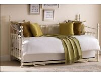 Julian Bowen Cream Metal Versallies Day Bed, Trundle and Mattresses For Sale